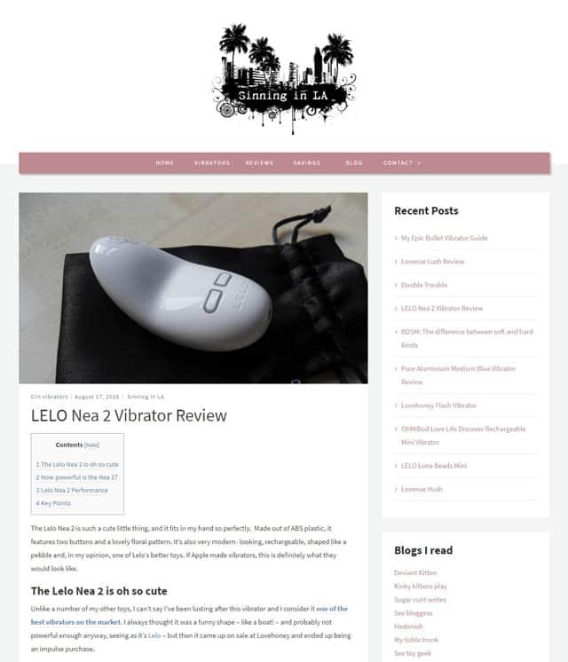 SinningInLA.com mit Sextoy Reviews wie zum Beispiel zum Lelo Nea