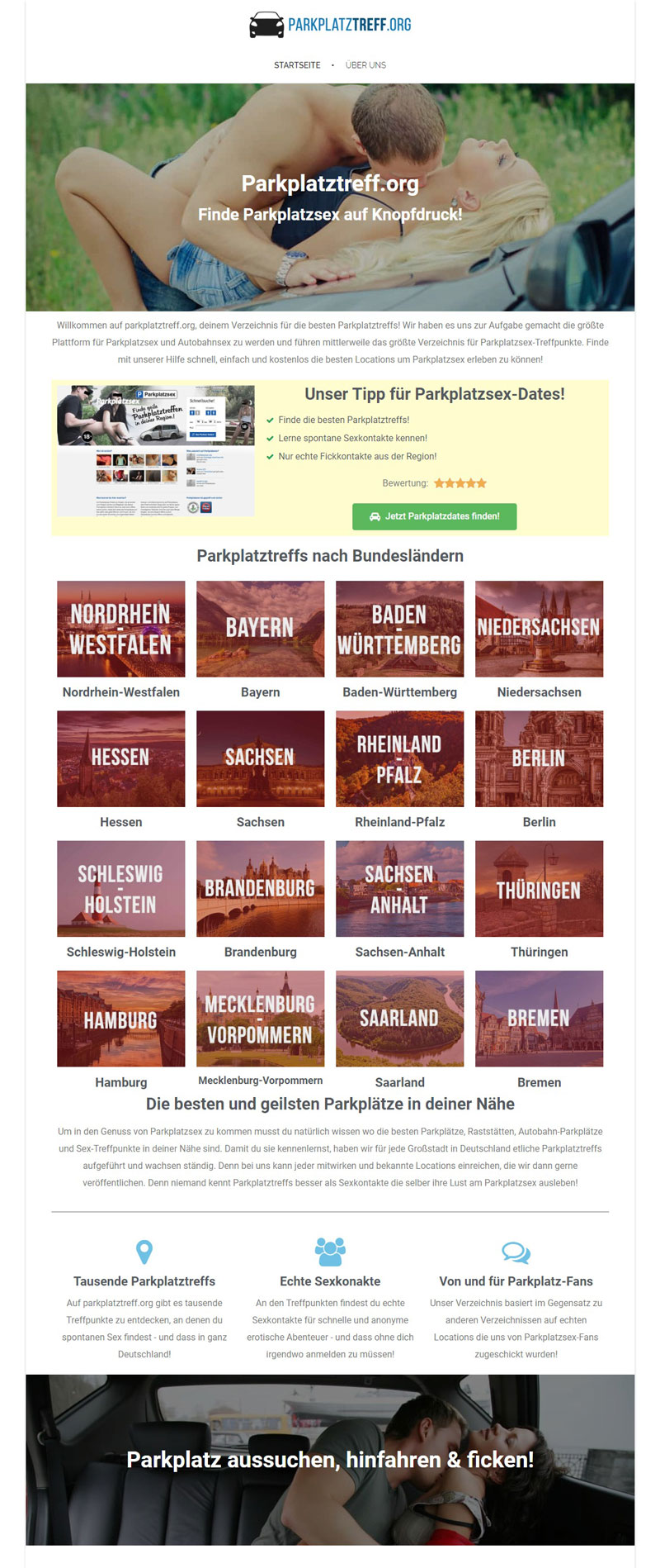 Testbericht Parkplatztreff.org - Screenshot der Webseite
